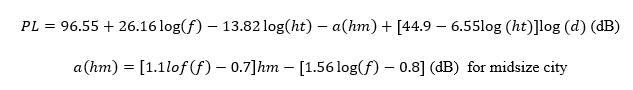Hata-Okumura Propagation Model Equation